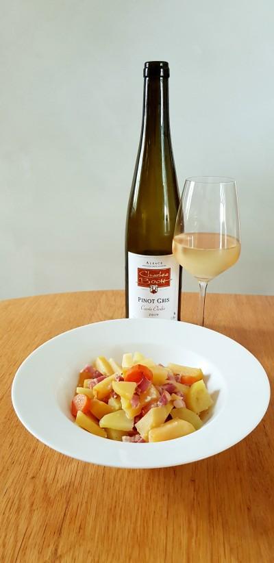 Potée de rutabagas et carottes aux lardons et miel accompagnée de notre Pinot Gris 2019 Cuvée Elodie