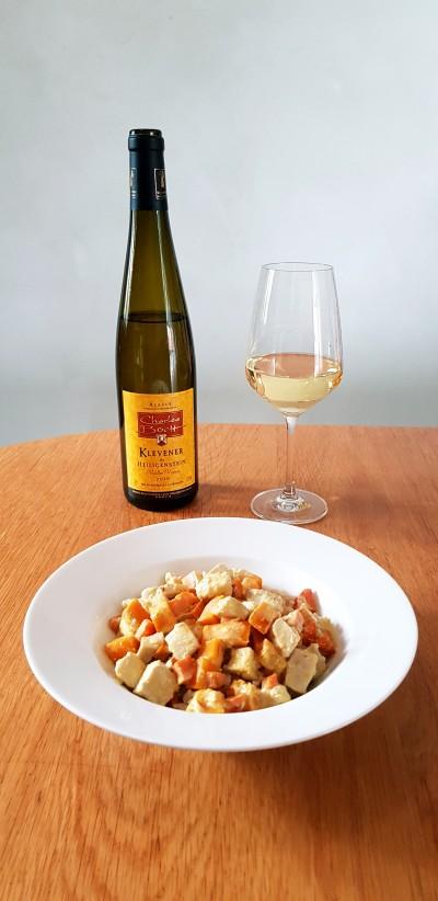 Curry de butternut et poulet accompagné de notre Klevener de Heiligenstein 2019 Cuvée Vieilles Vignes